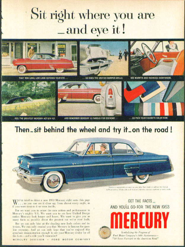 Image for Sit right where you are and eye it! 1953 Mercury ad