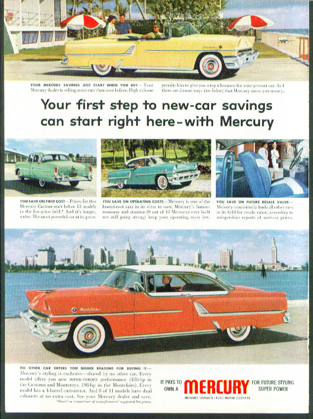 Image for Your first step to new-car savings 1955 Mercury ad