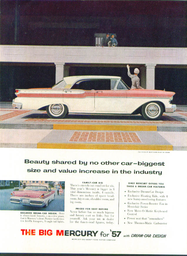 Beauty shared by no other car 1957 Mercury ad