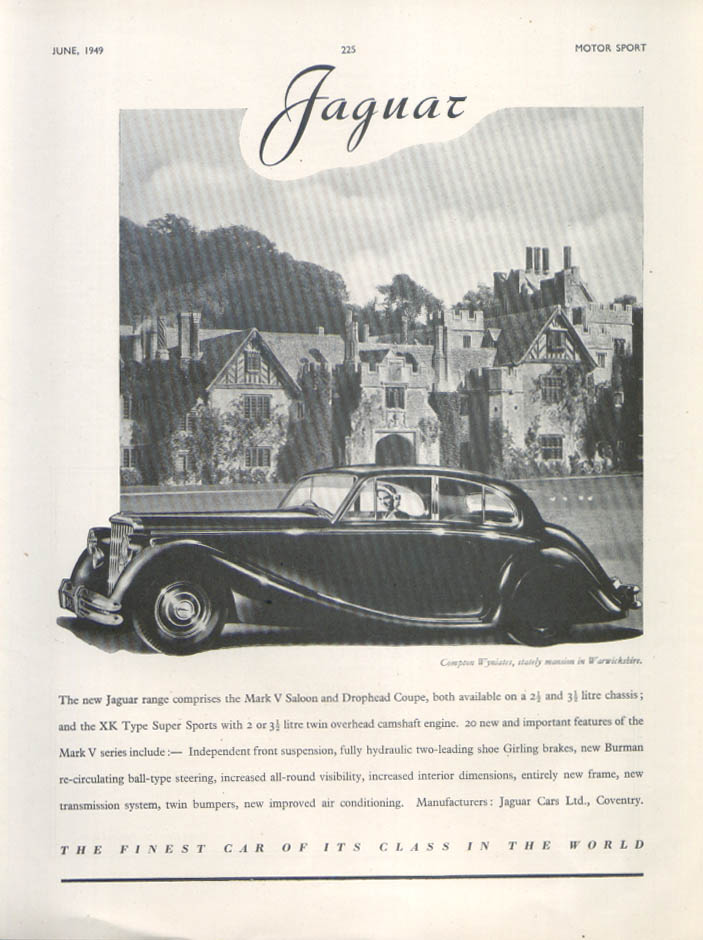 Image for Jaguar Mark V Saloon Compton Wyniates ad 1949