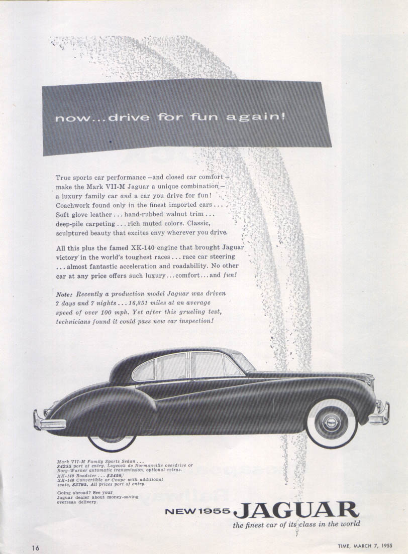 Image for Jaguar Mark VII-M Family Sports Sedan fun again ad 1955