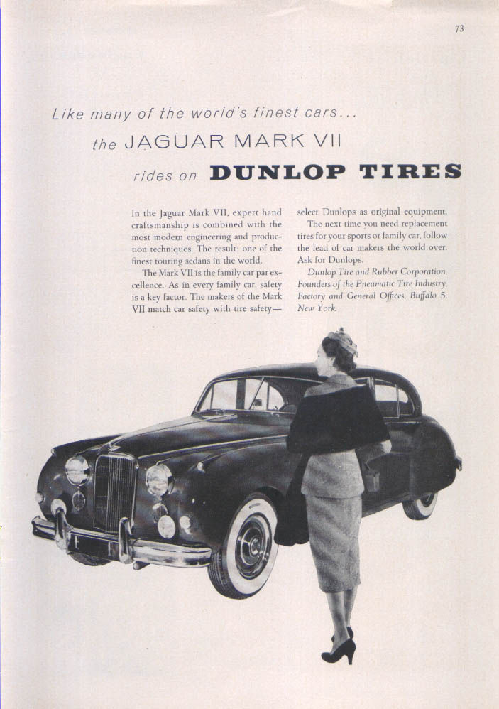Image for Jaguar Mark VII Dunlop Tires ad 1955