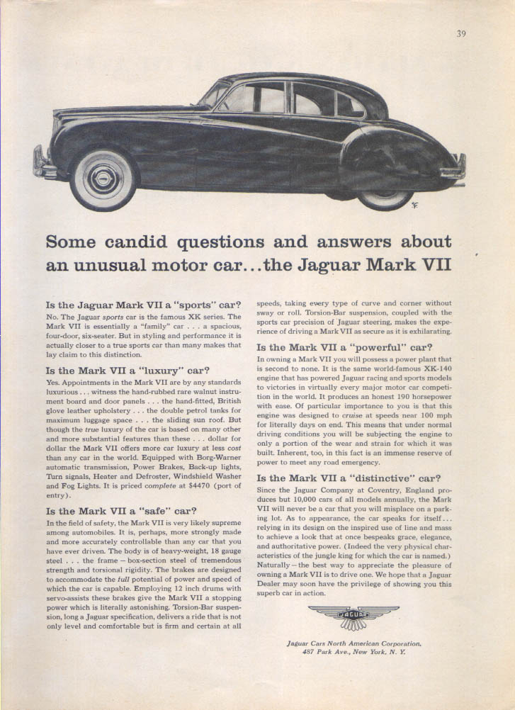 Jaguar Mark VII candid questions and answers ad 1956