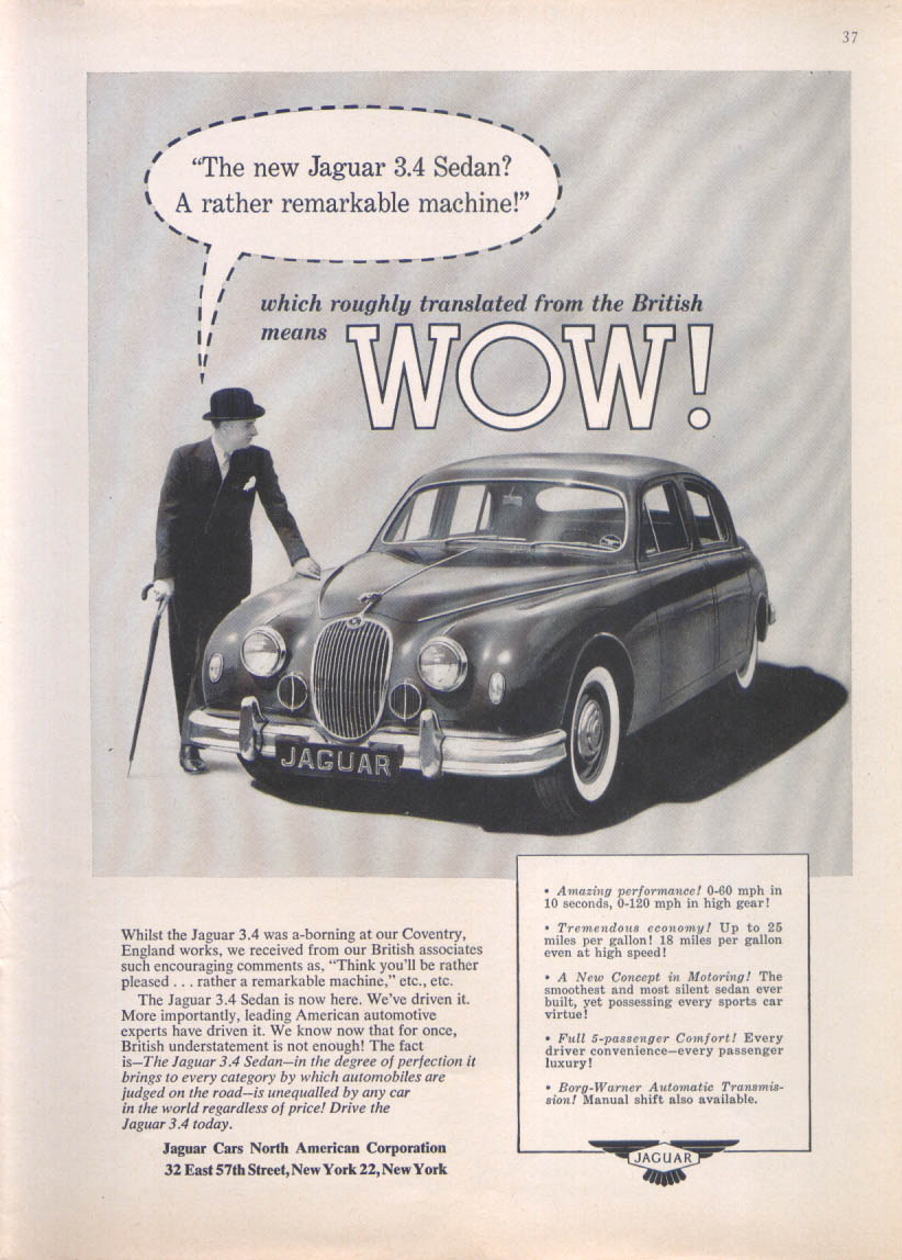 Jaguar 3.4 Sedan rather remarkable machine ad 1957