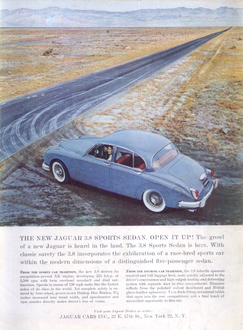 Jaguar 3.8 Sports Sedan Open it up! Ad 1960