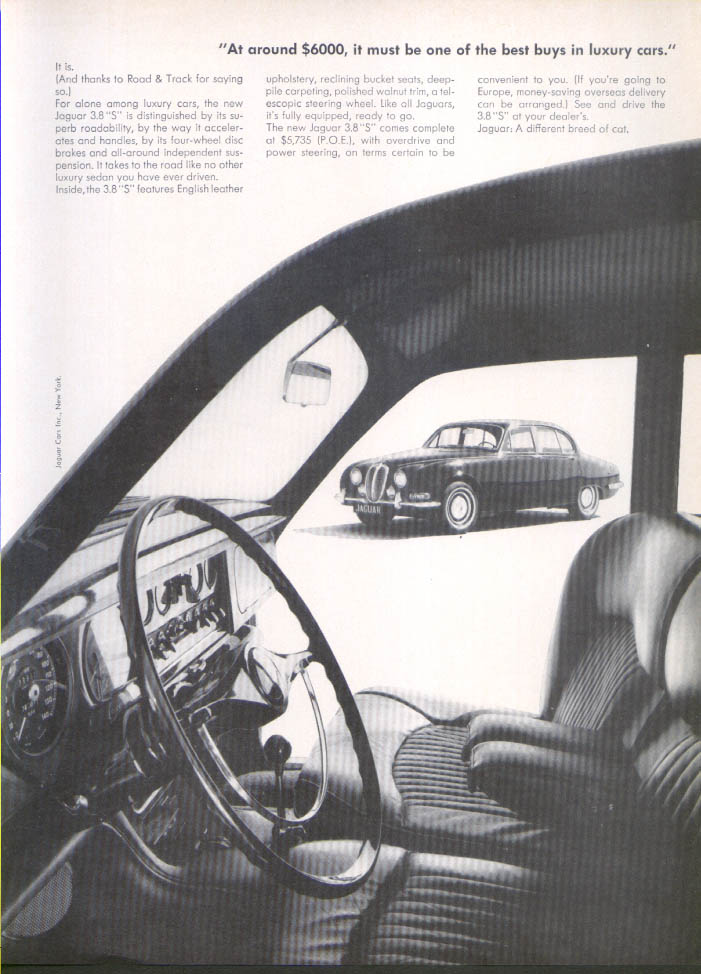 "Jaguar 3.8 ""S"" Sedan a different breed of cat ad 1960"