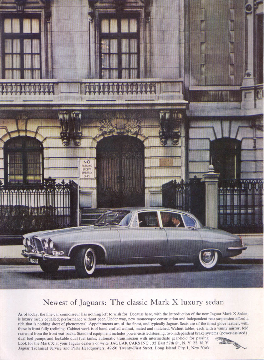 Image for Jaguar Mark X luxury sedan at embassy ad 1962