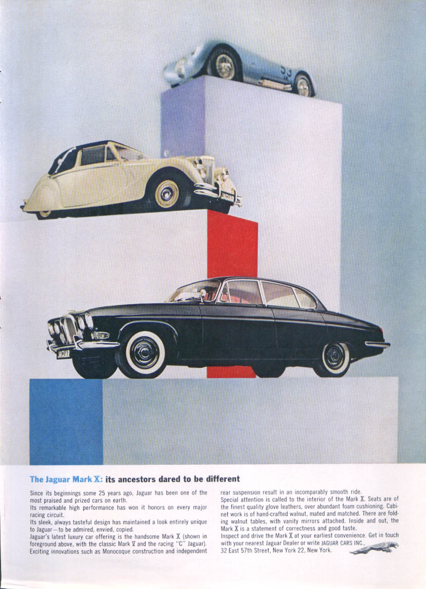 "Image for Jaguar Mark X ancestors: Mark V, racing ""C"" ad 1963"