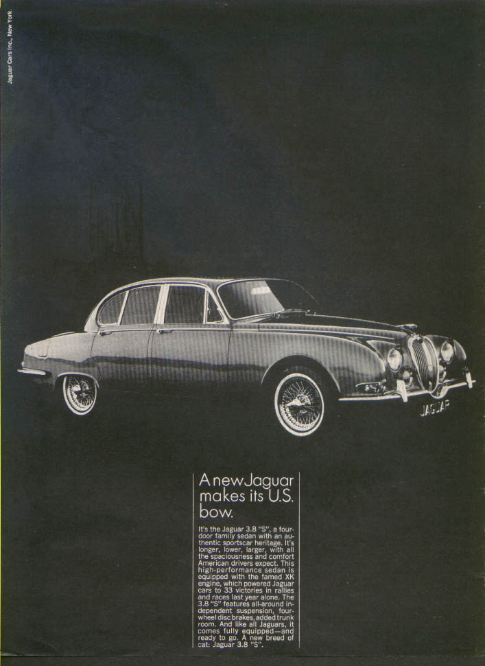 "Jaguar 3.8 ""S"" family sedan makes its US bow ad 1964"