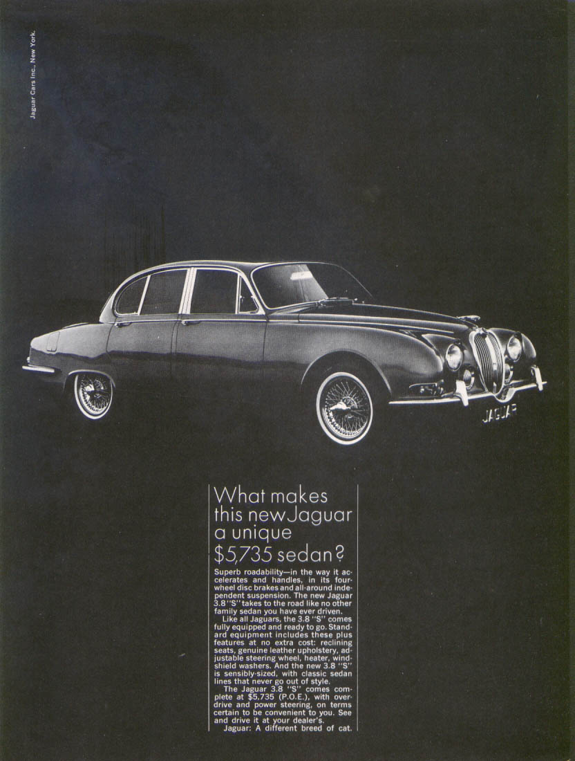 "Jaguar 3.8 ""S"" a unique sedan ad 1965"