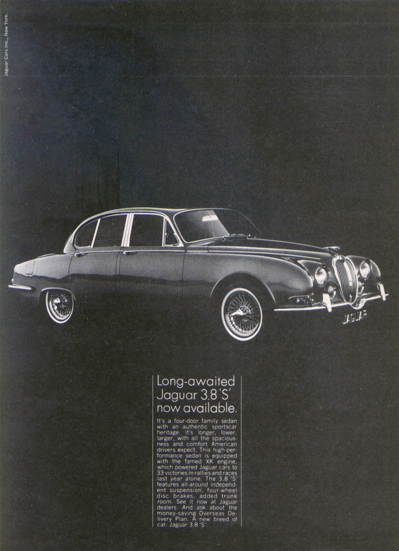 "Jaguar 3.8 ""S"" long-awaited, now available ad 1965"