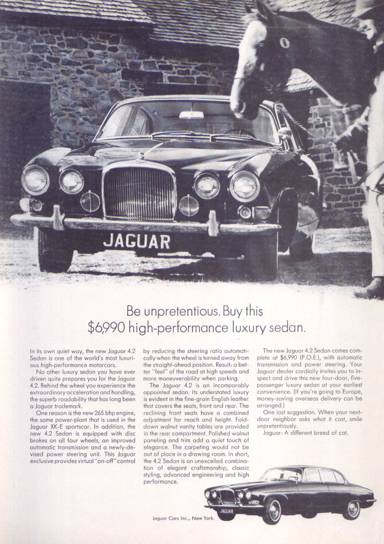 Jaguar 4.2 Sedan unpretentious high-performance ad 1965