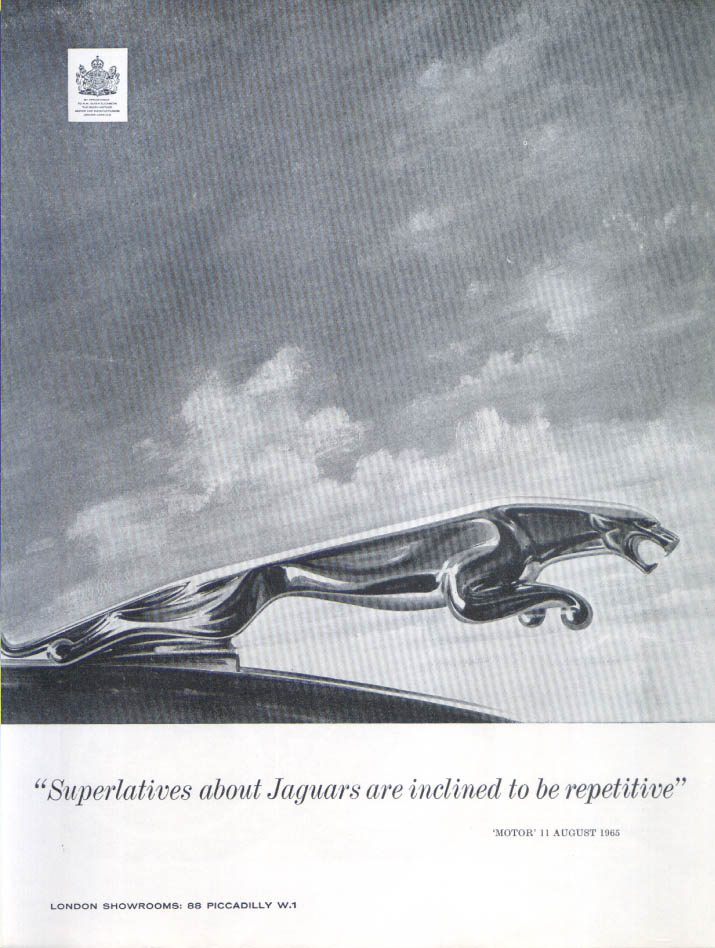 Jaguar Superlatives inclined to be repetitive ad 1965