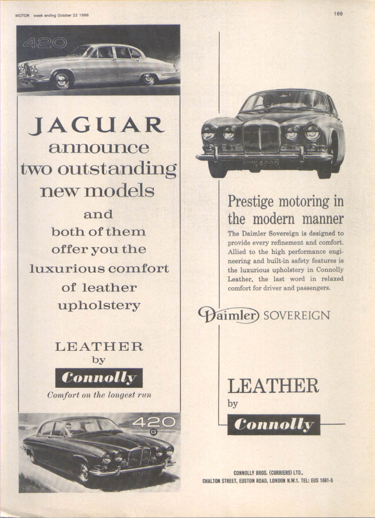 Jaguar 420 G Daimler Sovereign Connolly Leather ad 1966