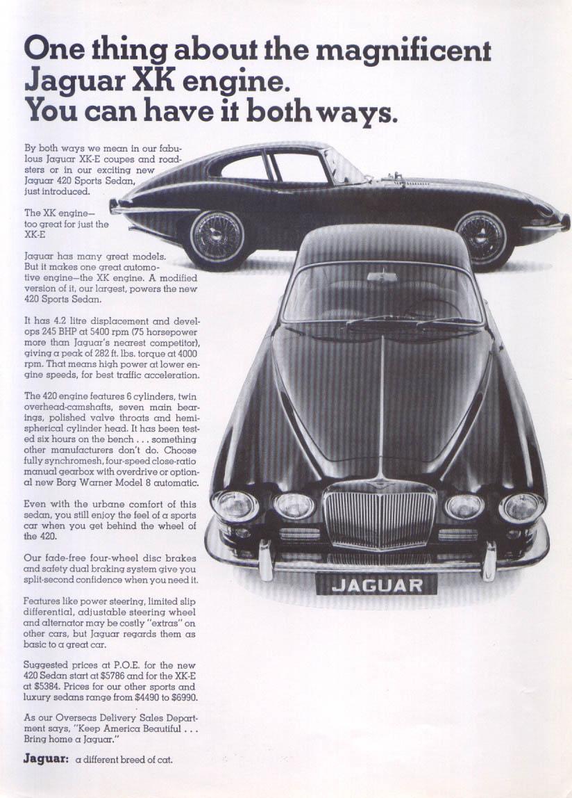Jaguar XK-E & 420 Sports Sedan XK engine ad 1967