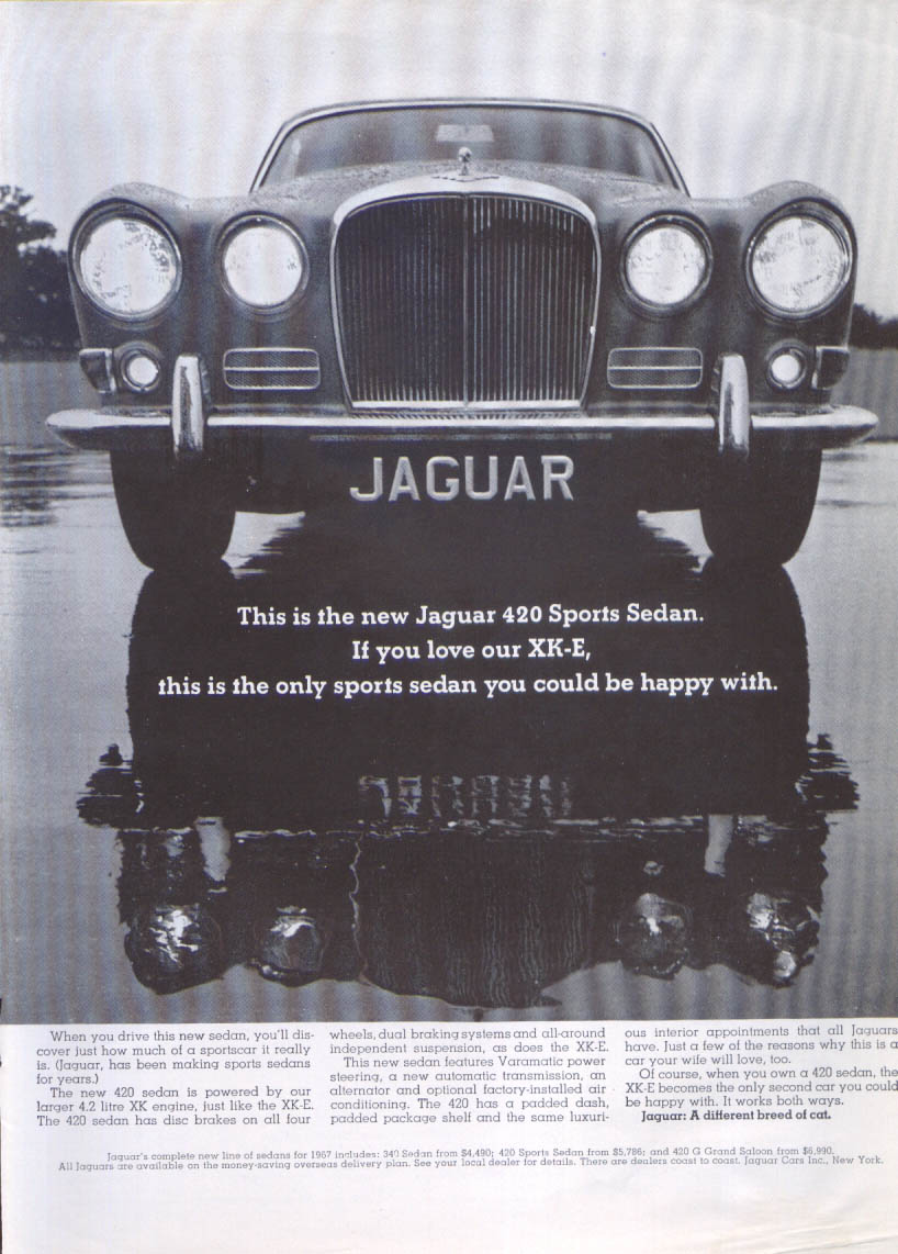 Jaguar 420 Sports Sedan one to be happy with ad 1967