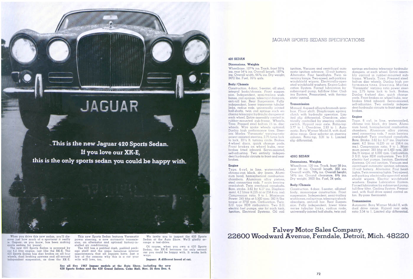 Jaguar 420 Sports Sedan specifications ad 1967