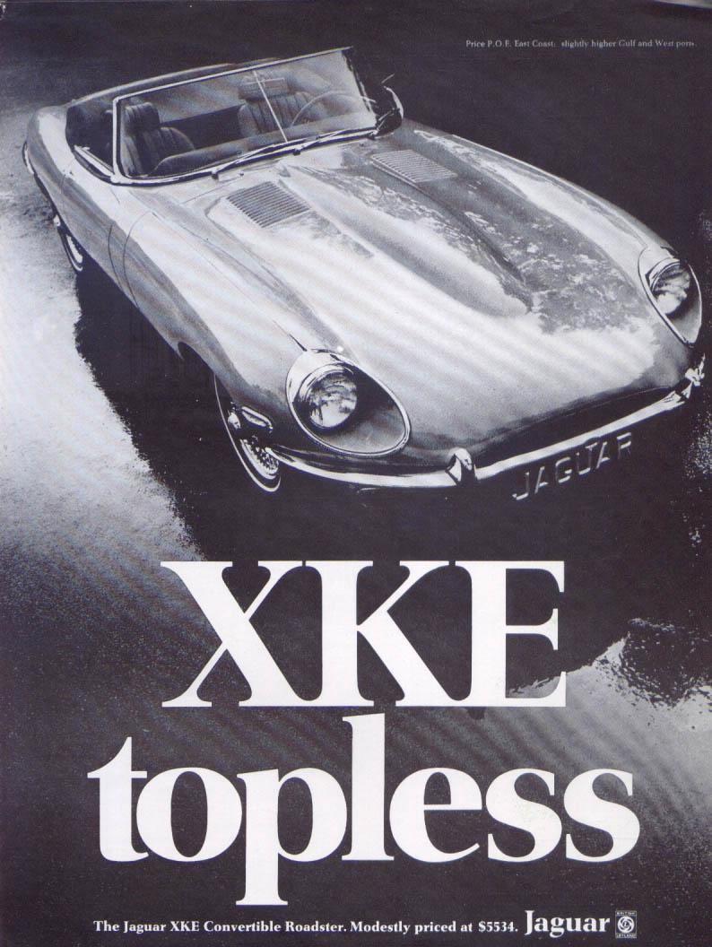 Jaguar XKE Convertible Roadster topless ad 1970