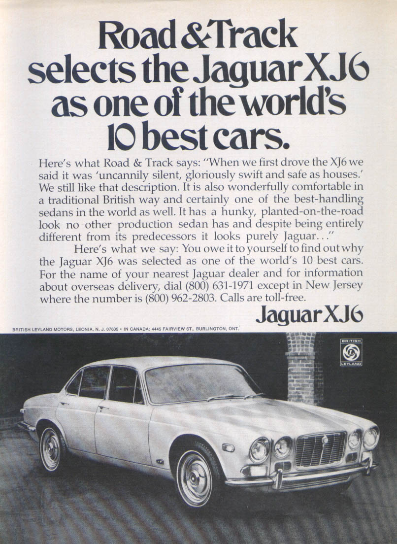 Jaguar XJ6 one of the world's 10 best cars ad 1972