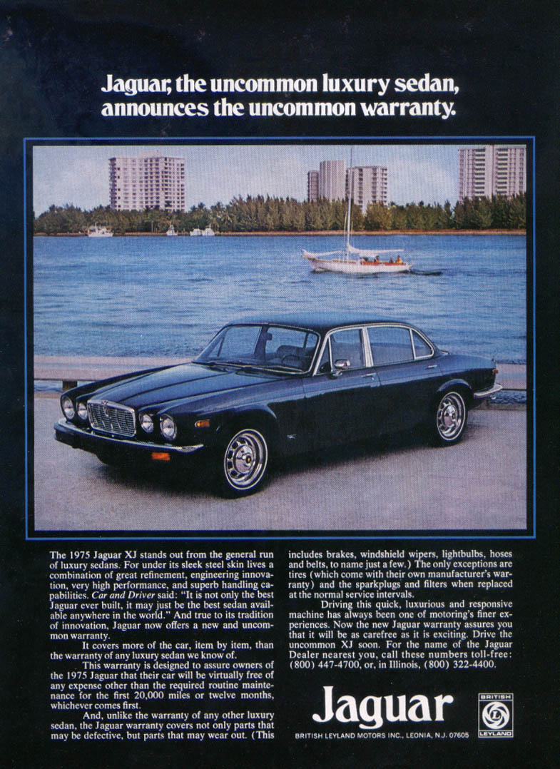 Jaguar XJ uncommon luxury sedan ad 1975