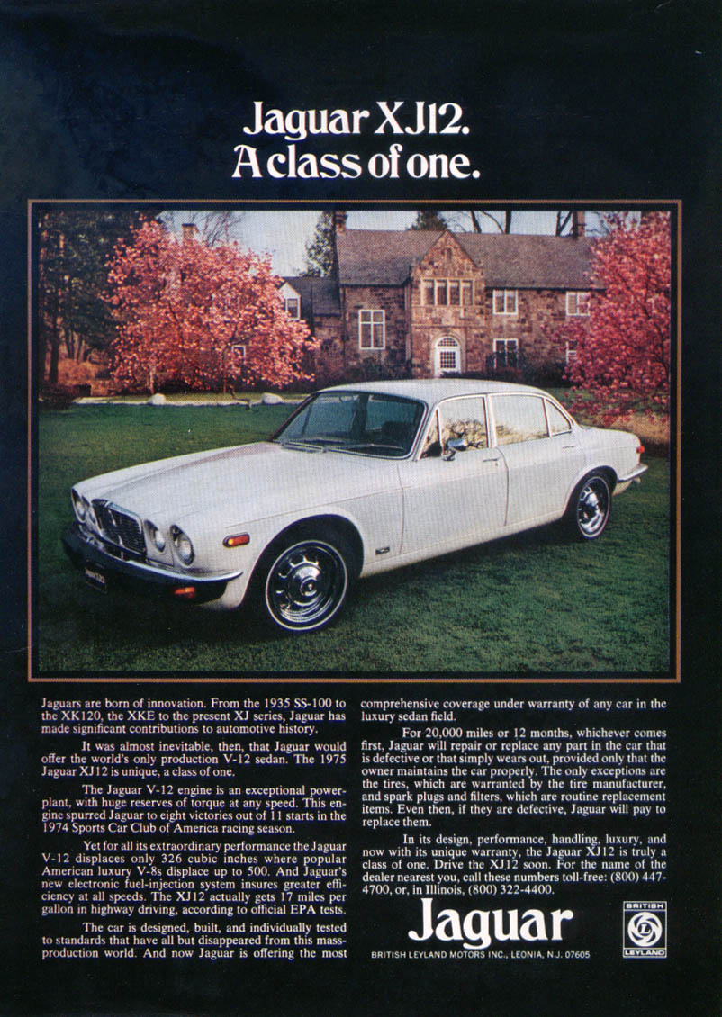 Jaguar XJ12 A class of one ad 1975