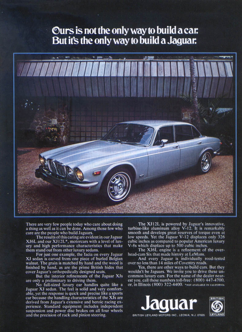 Jaguar XJ sedan only way to build ad 1975