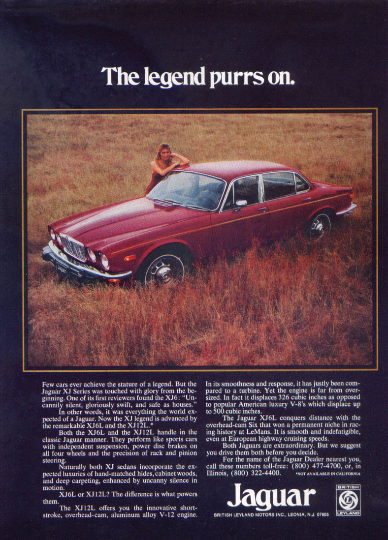 Jaguar XJ sedan the legend purrs on ad 1975