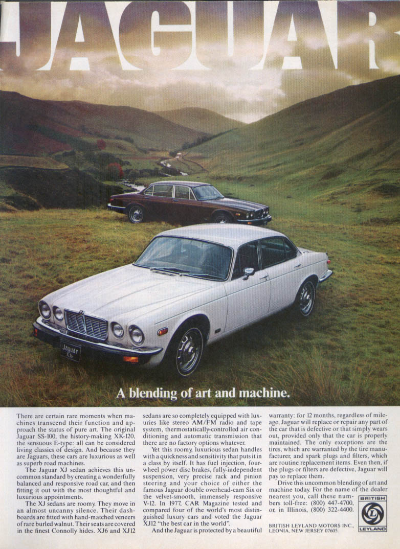 Jaguar XJ sedan a blending of art and machine ad 1978