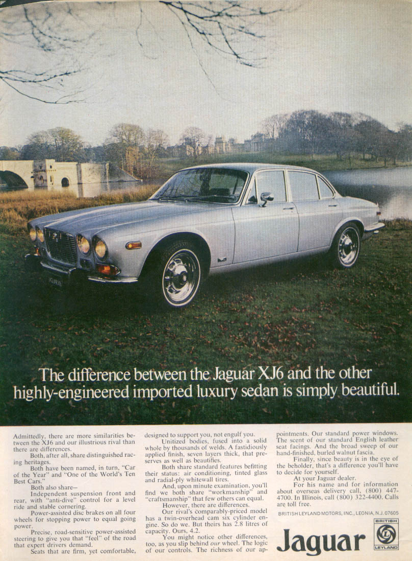 Jaguar XJ6 difference between us and our rival ad 1980