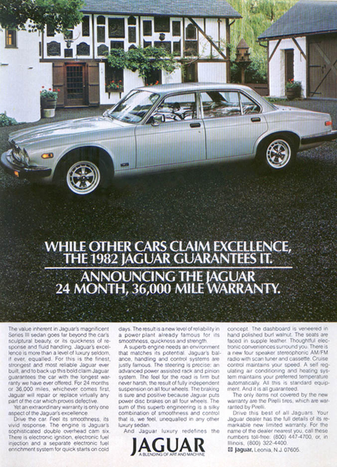 Jaguar XJ sedan guarantees excellence ad 1982