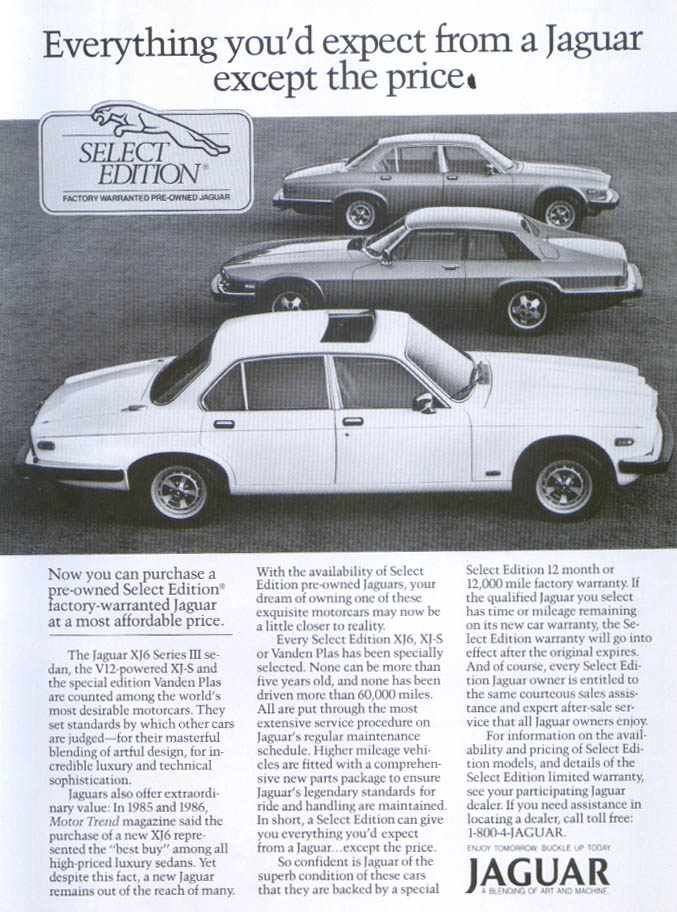 Jaguar pre-owned Select Edition XJ6, XJ-S ad 1987