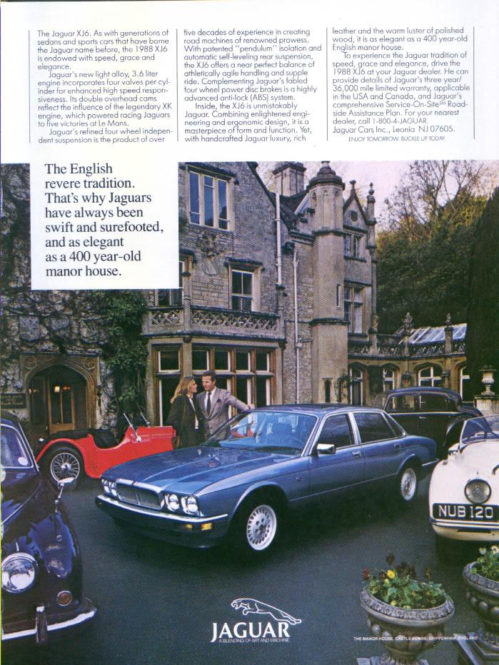 Jaguar XJ6 English revere tradition ad 1988