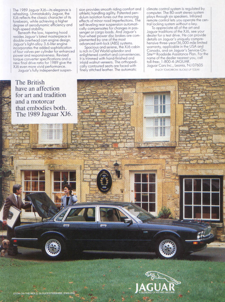 Jaguar XJ6 British affection for art, tradition ad 1989