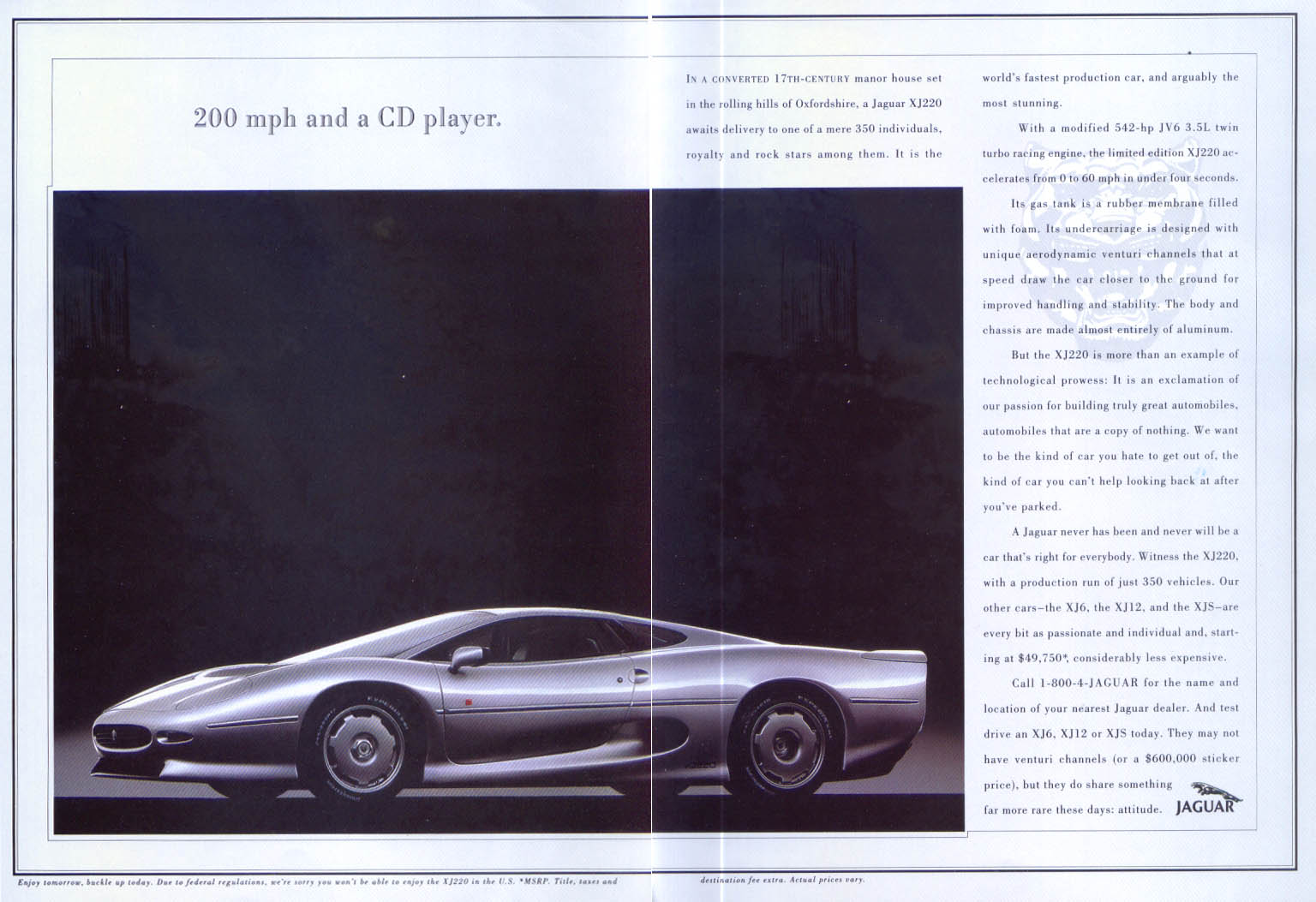Jaguar XJ220 world's fastest production car ad 1990