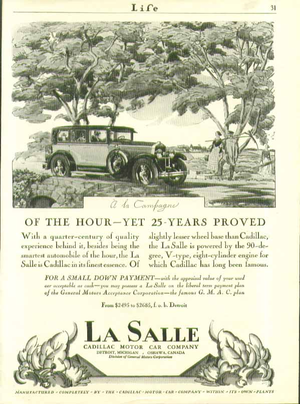 Of the Hour - Yet 25-years Proved . . .  La Salle ad 1927