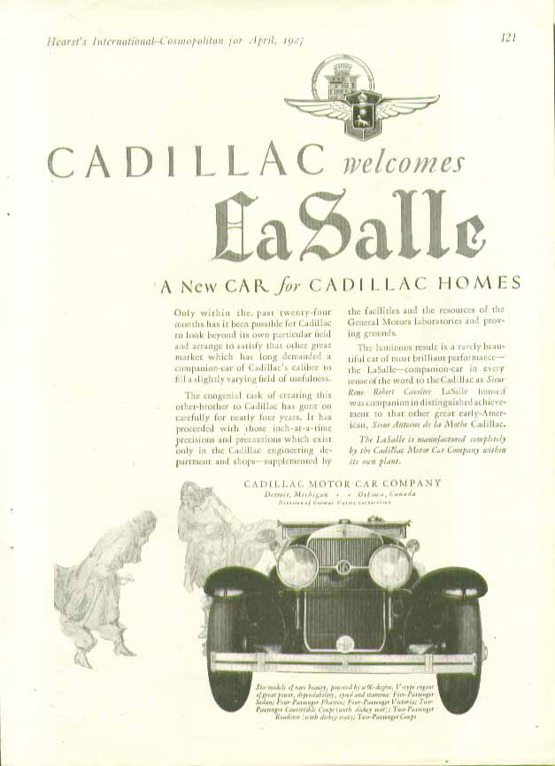 Cadillac welcomes La Salle A New Car for Cadillac Homes ad 1927