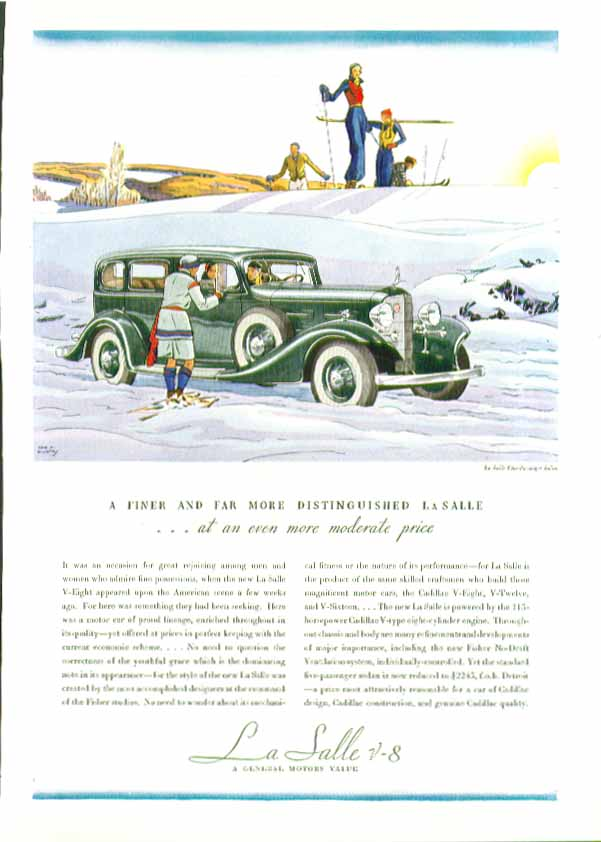 A finer and far more distinguished La Salle ad 1934 skiing