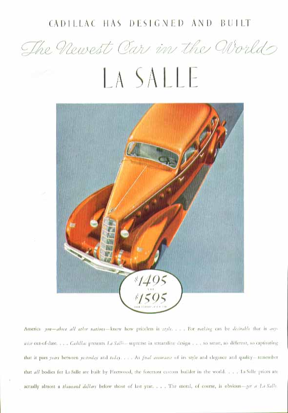 Cadillac has designed & built The Newest Car in the World La Salle ad 1934