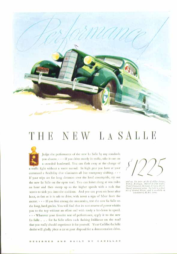 Performance! The New La Salle ad 1935