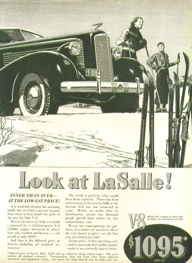 Look at La Salle! Finer than ever - at the lowest price! Ad 1937 skiing