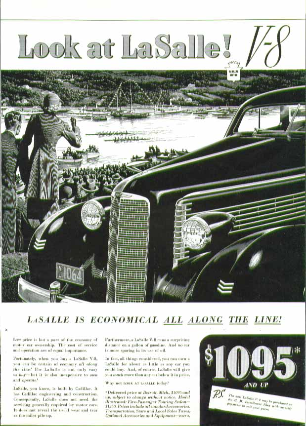 Look at La Salle! Economical all along the line! Crew racing regatta ad 1937