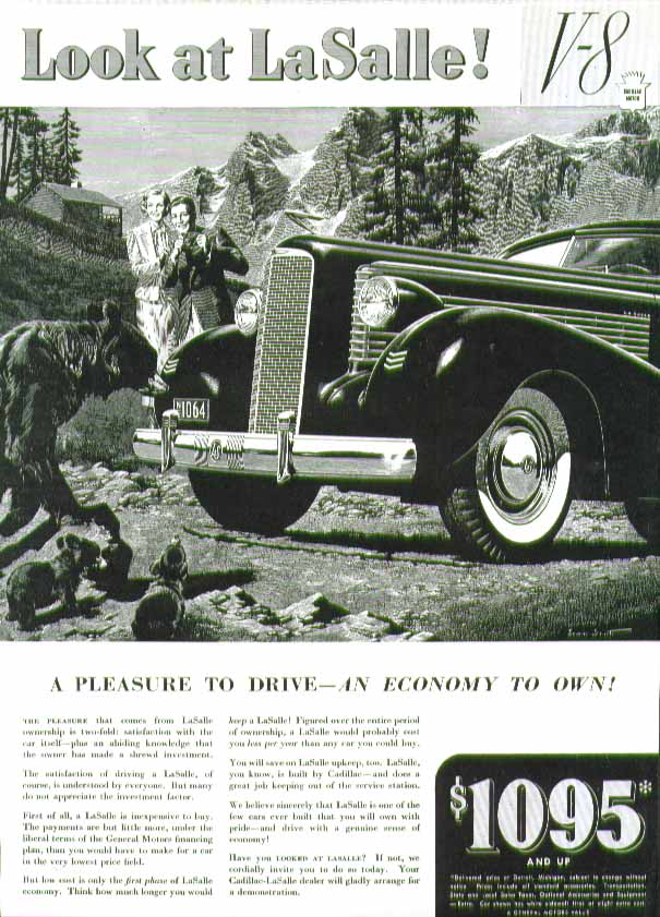 Look at La Salle! A pleasure to drive - an economy to own ad 1937 bear & cubs