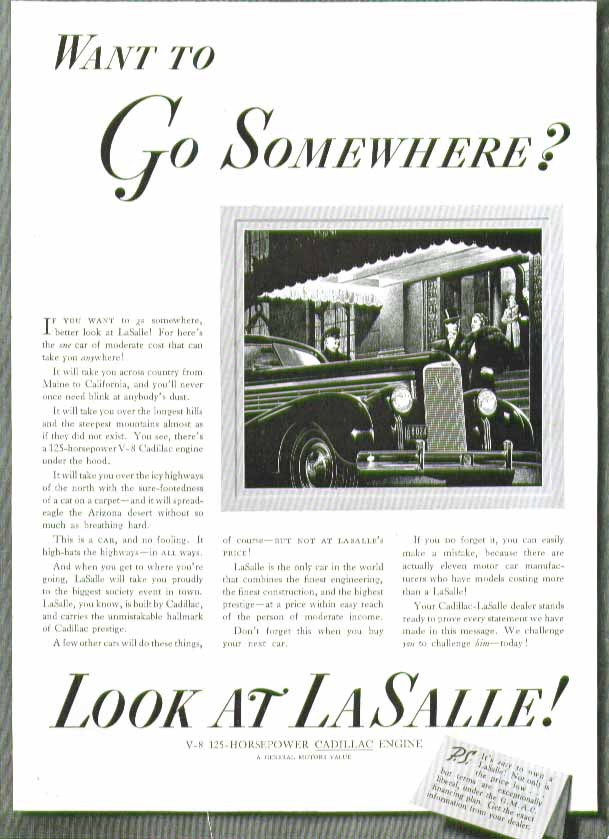 Want to go somewhere? Look at La Salle! Ad 1938 top hat & fur coat
