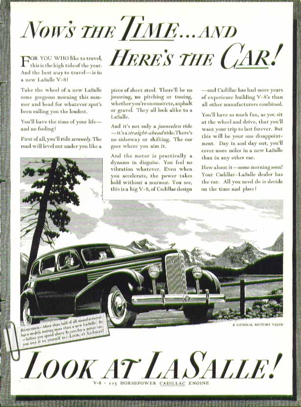 Now's the time and here's the car! Look at La Salle! Ad 1938