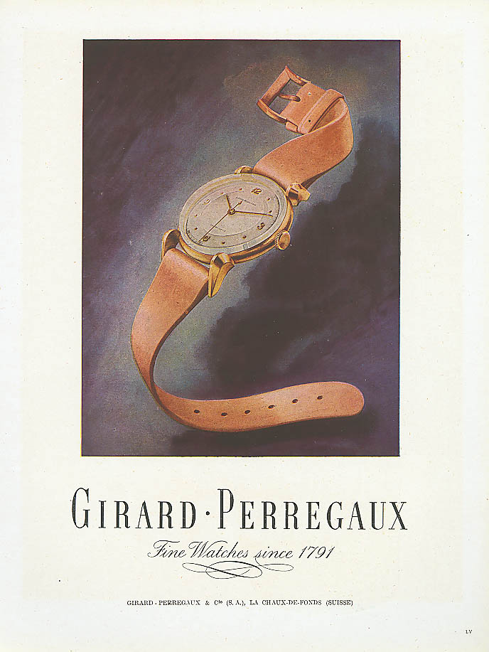 Girard-Perregaux wristwatch ad French 1948