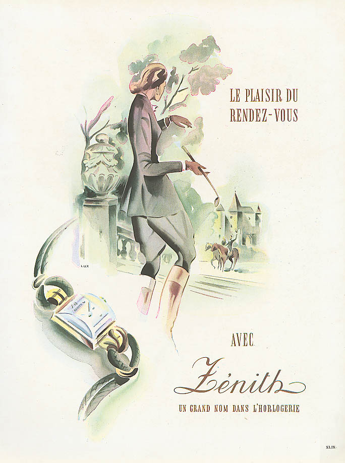Zenith woman's wristwatch French ad Rendez-Vous 1948