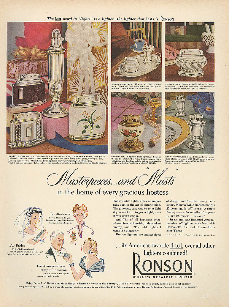 Masterpieces & Musts Ronson lighter ad 1952