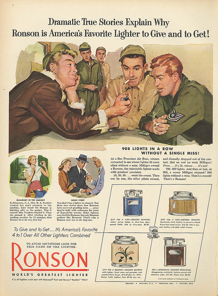 908 lights in a row Ronson lighter ad 1952