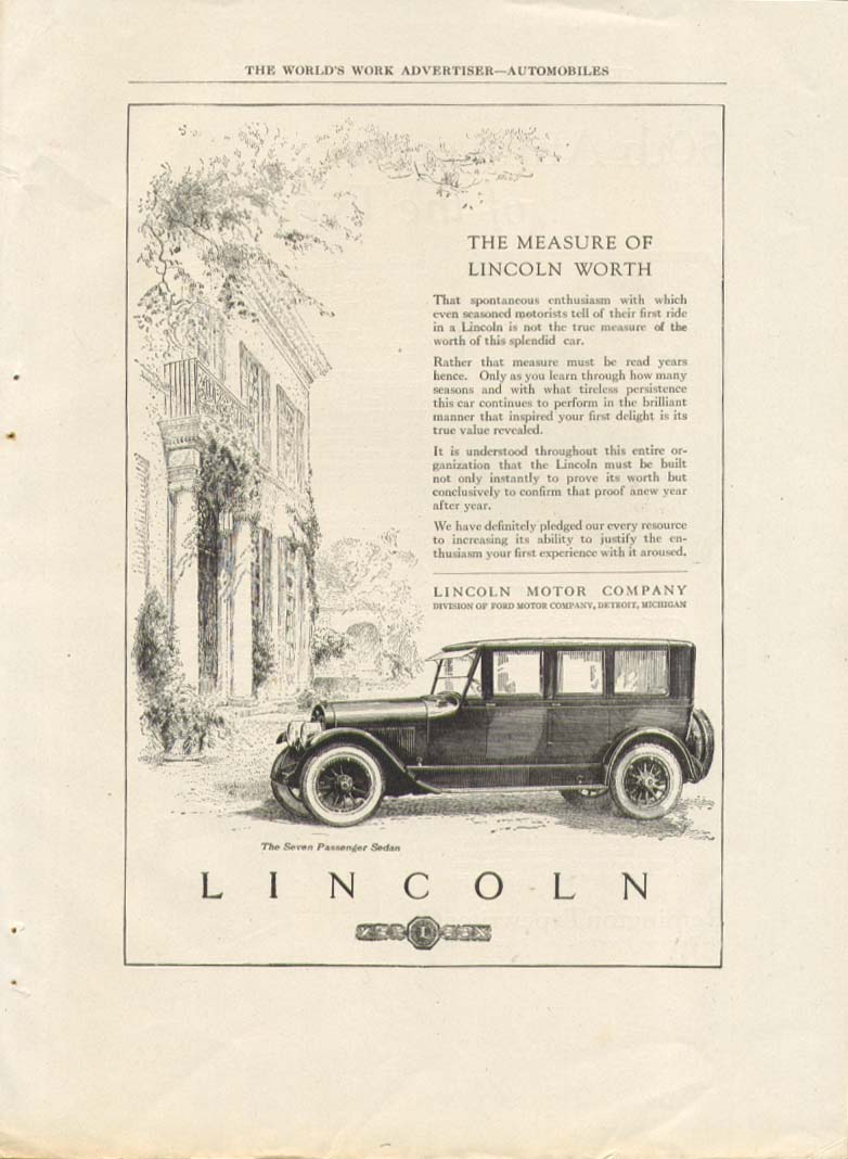 Image for The Measure of Lincoln Worth 7-passenger sedan ad 1923