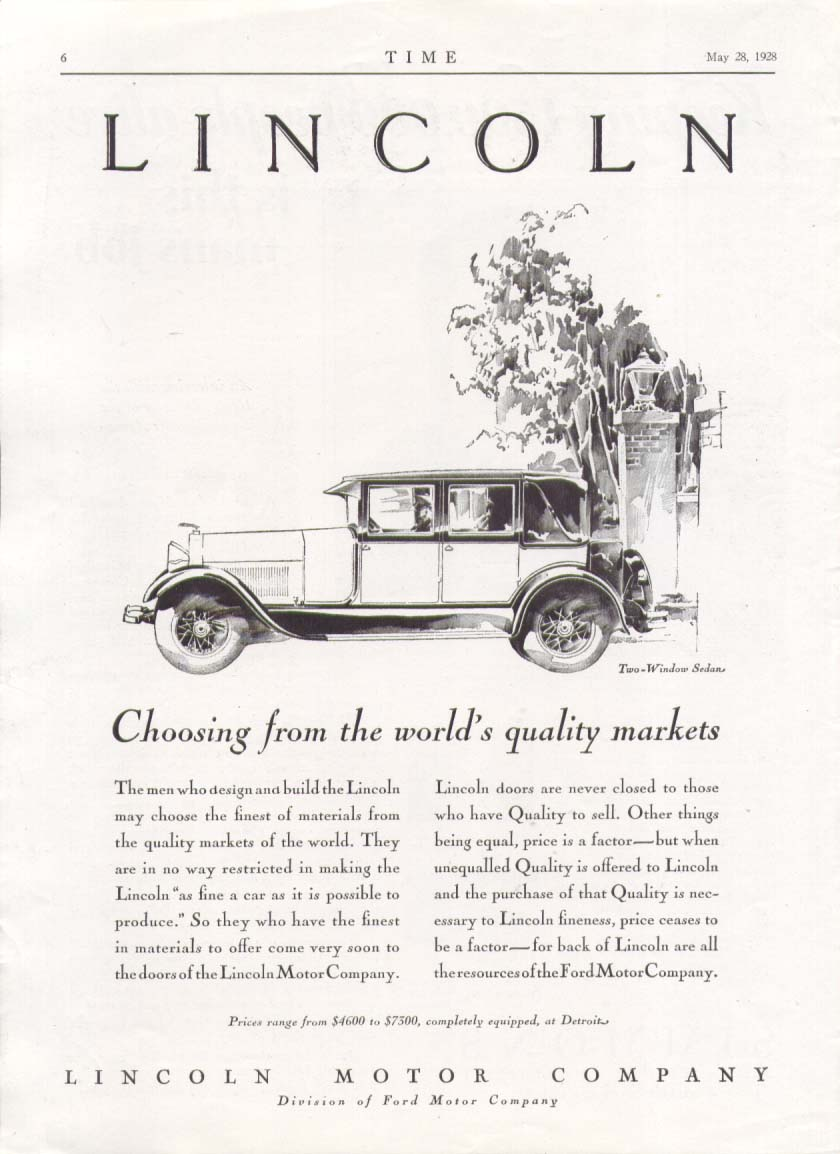 Image for Choosing from world's quality markets Lincoln ad 1928